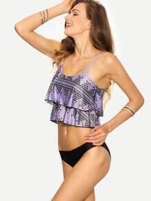 Layered Ruffled Mix & Match Bikini Set - Purple