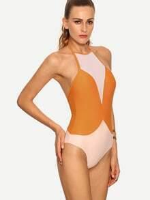 Contrast Halter Neck One-Piece Swimwear