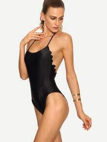 Scalloped Trim Backless One-Piece Swimwear - Black