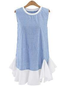 Ruffled Hem Vetical Striped Shift Dress - Blue