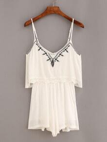 Lace Trimmed Embroidered Cami Romper - White