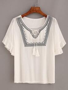 Ruffled Sleeve Tassel-Tie Neck Embroidered Blouse - White