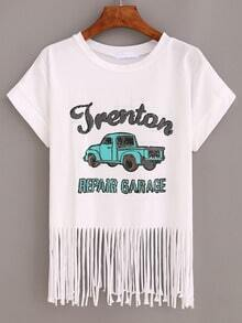 Car Print Crop Fringe T-shirt - White