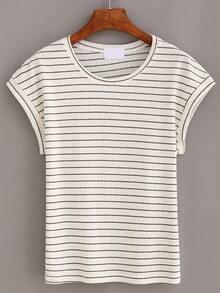 Grey Striped Short Sleeve T-shirt