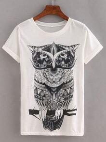 Owl Print White T-shirt
