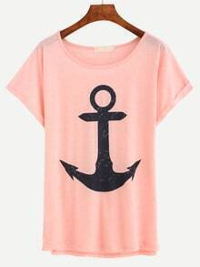 Anchor Print Rolled Sleeve Pink T-shirt