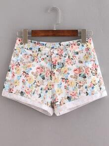 Rolled Hem Flower Print Shorts - Multicolor