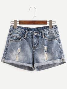 Distressed Rolled Hem Denim Shorts - Blue