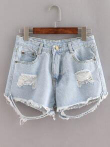 Ripped Raw Hem Denim Shorts - Light Blue