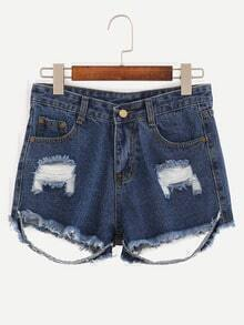 Ripped Raw Hem Denim Shorts - Blue
