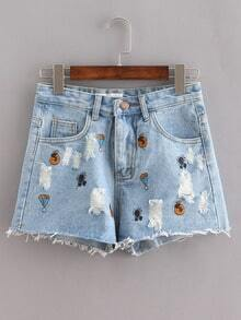 Raw Hem Embroidered Denim Shorts - Light Blue