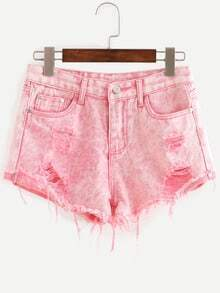 Ripped Raw Hem Denim Shorts - Pink