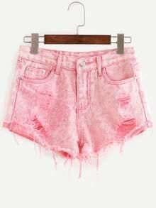 Ripped Raw Hem Denim Shorts - Pink
