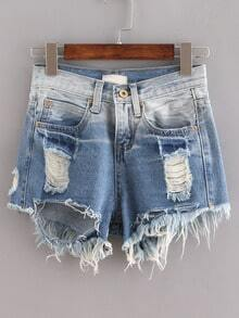 Blue Ombre Ripped Raw Hem Denim Shorts