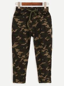 Drawstring Waist Camouflage 3/4 Length Pants - Olive Green
