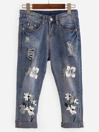 Ripped Flower Print 3/4 Length Jeans - Blue