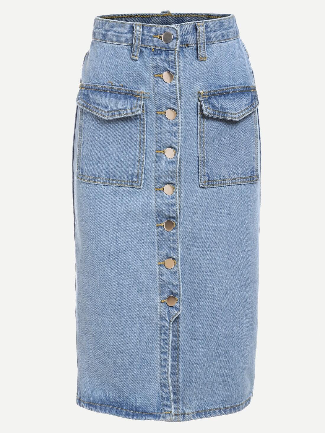 buttoned front denim pencil skirt light blue shein