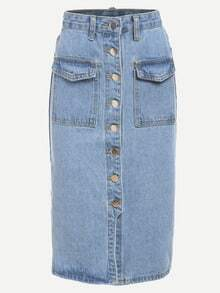 Buttoned Front Denim Pencil Skirt - Light Blue