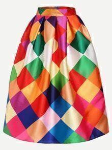 Color Block Box Pleated Midi Skirt