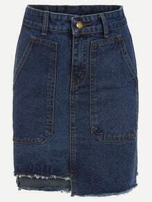 Pocket Front Asymmetric Denim Pencil Skirt - Blue