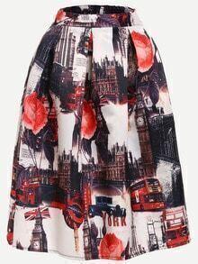 Vintage Print Box Pleated Midi Skirt