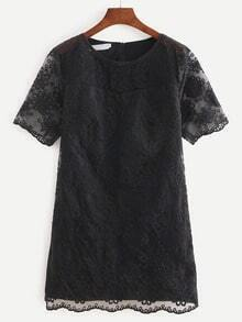 Flower Embroidered Mesh Shift Dress - Black