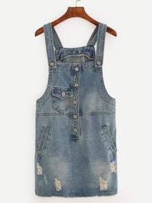 Buttoned Front Distressed Overall Denim Dress - Blue