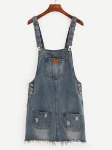 Pocket Front Raw Hem Overall Denim Dress - Blue