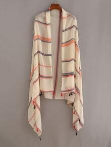Tassel Trimmed Striped Shawl - Beige