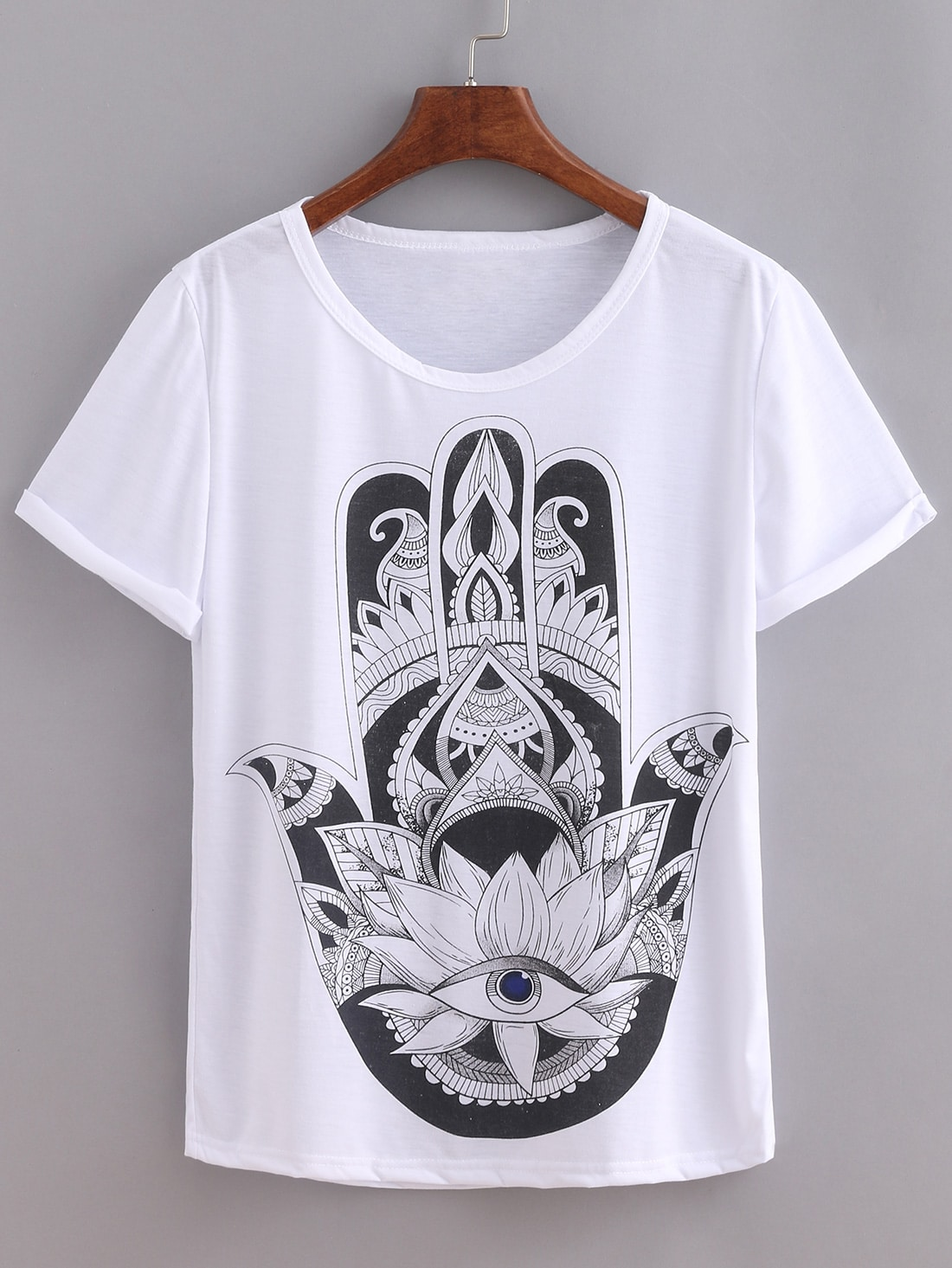 Hand Print White T-shirt -SheIn(Sheinside)