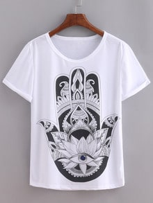Hand Print White T-shirt