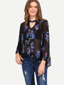 Keyhole Flower Print Sheer Blouse - Black