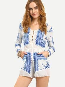 Buttoned Front Tribal Print Romper - White