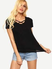 Crisscross Neck Black T-shirt
