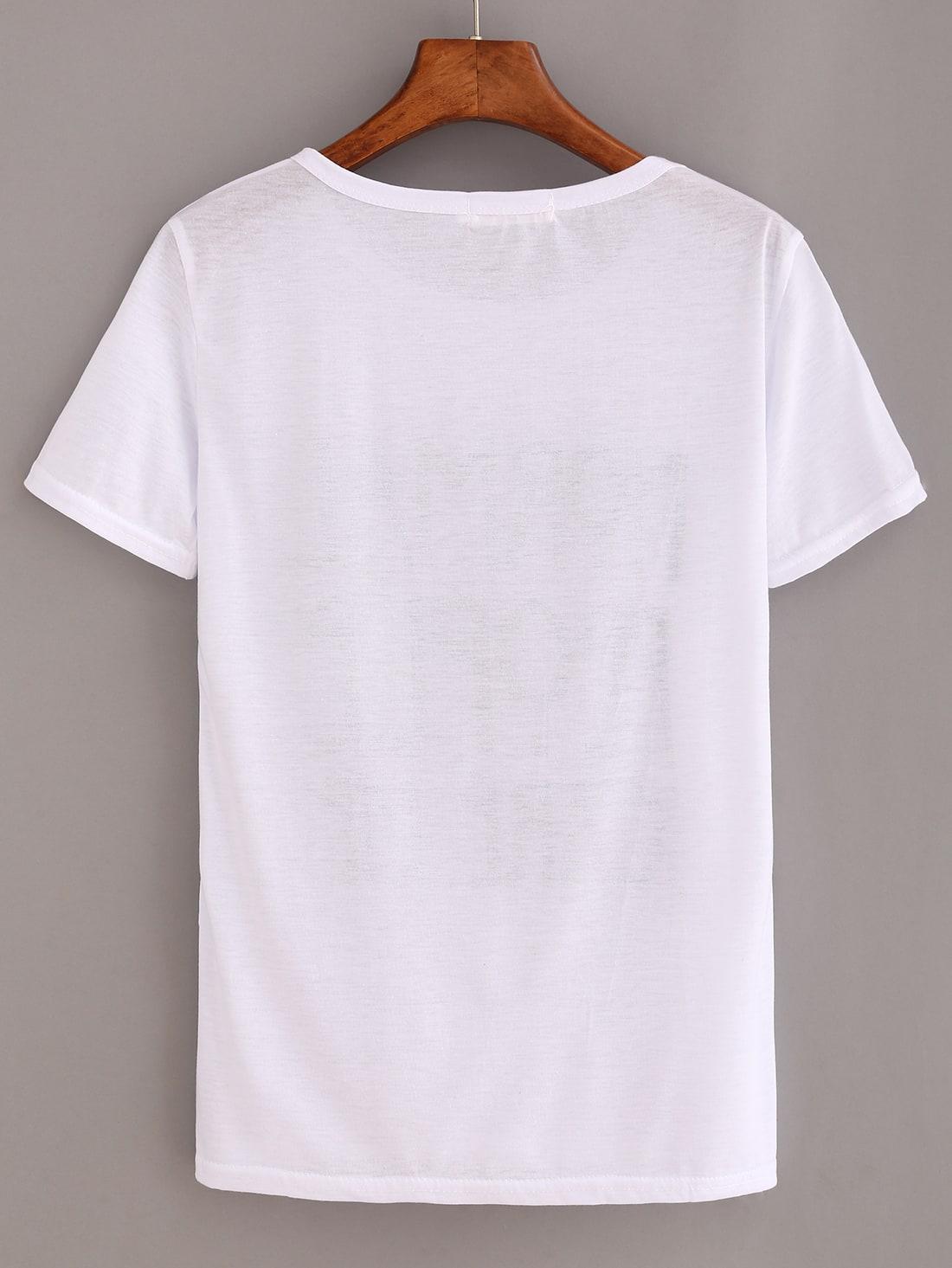 Letter print white t shirt shein sheinside for White t shirt printing