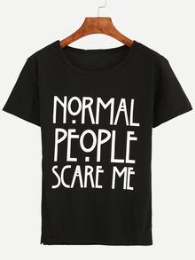 Kurzarm T-Shirt Rundhals mit Buchstaben Druck