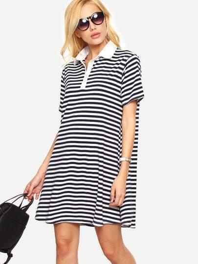 Navy Striped Loose-Fit Polo Dress