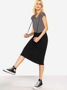 Striped 2 IN 1 Tee Dress - Black