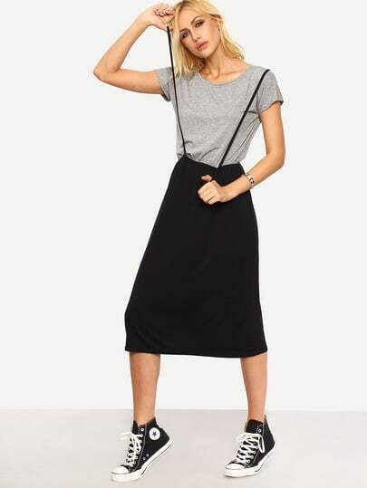 Contrast 2 In 1 Tee Dress