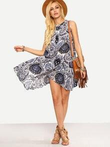 Keyhole Paisley Print Asymmetric Swing Dress - Blue