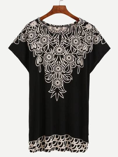 Flower Print Loose-Fit Dress - Black