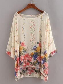 Flower Print Chiffon Poncho Blouse - Beige