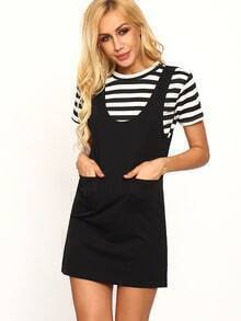 Striped T-shirt With Overall Dress - Black