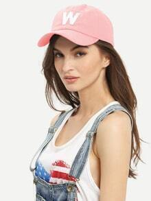 Letter Patch Baseball Hat - Pink