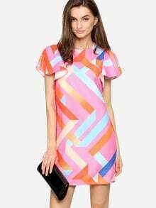 Multicolor Print Ruffle Sleeve Shift Dress