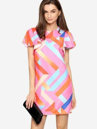 Multicolor Print Ruffle Sleeve Shift Dress