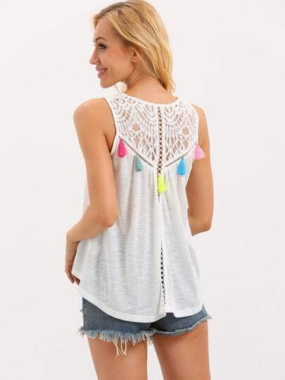 White Tassel Lace Patchwork Tank Top