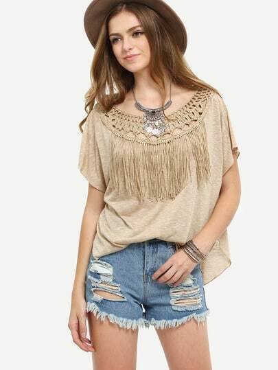 Apricot Short Sleeve Tassel Crochet Patchwork T-shirt