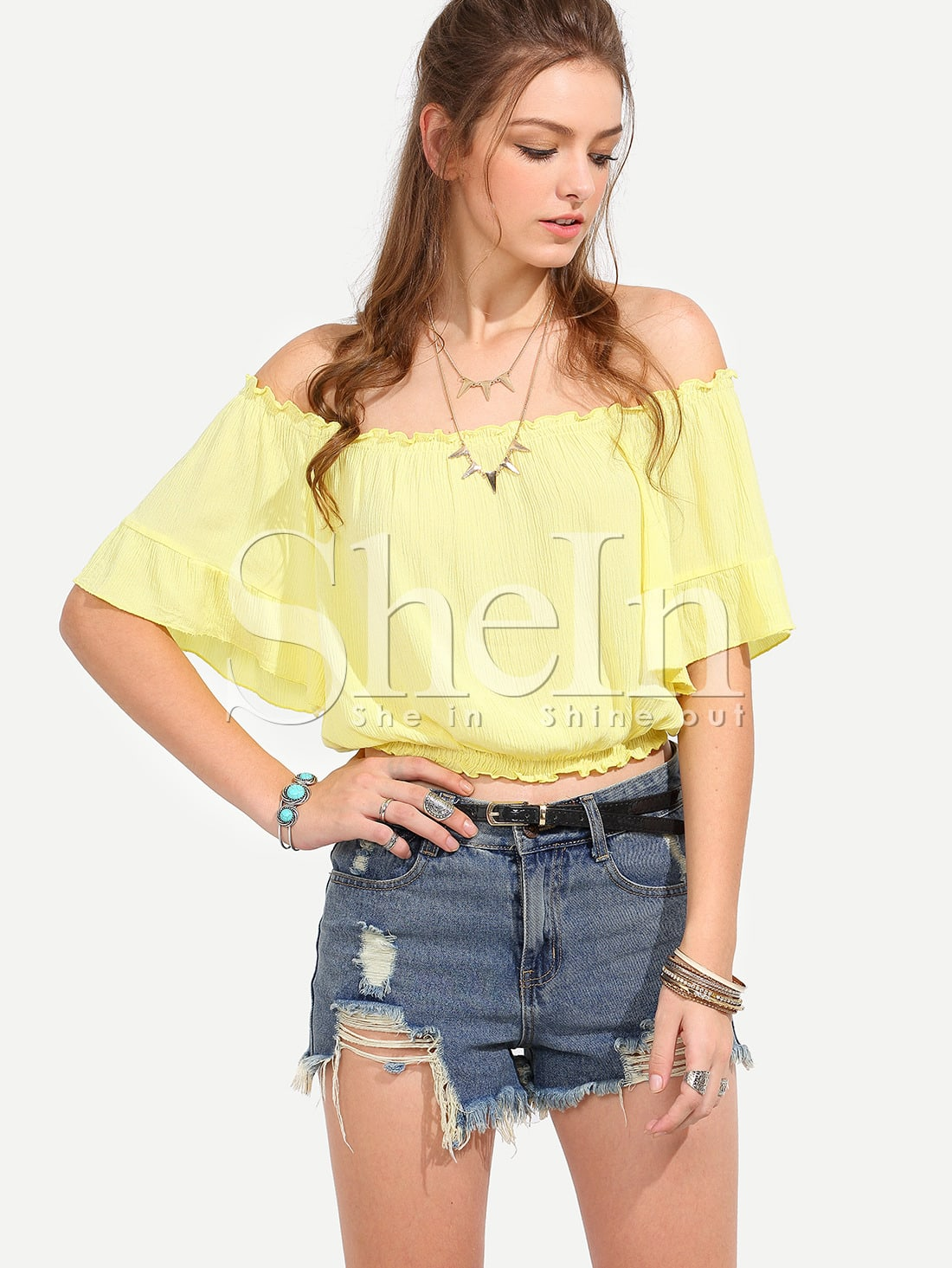 Yellow Off The Shoulder Blouse 117