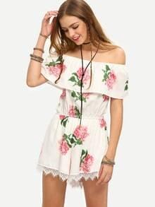 White Off The Shoulder Flower Print Jumpsuit